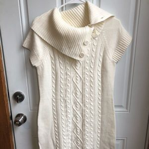 White Short Sleeve Sweater Dress!
